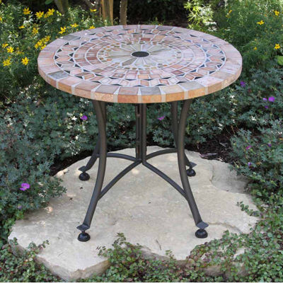 Outdoor Interiors 24 in. Sandstone Mosaic End Table with Metal Base