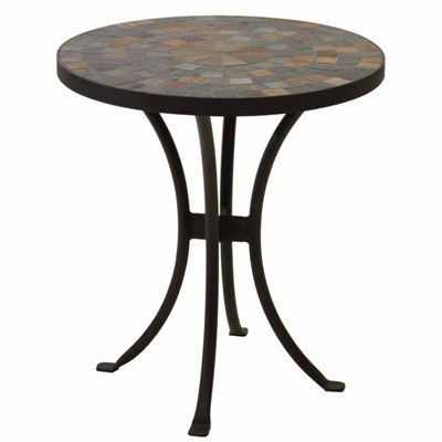 Outdoor Interiors 18 in. Slate Accent Table with Metal Base