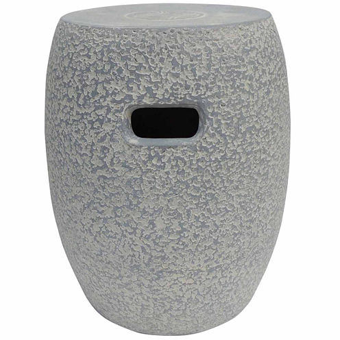 Outdoor Interiors Clay Garden Stool- Washed Concrete Look