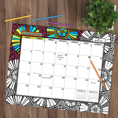 Academic Year July 2017 - June 2018 Blotter Desktop Calendar