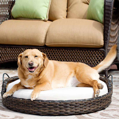 Rattan Round Pet Bed with Handles – Indoor/Outdoor