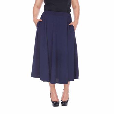 White Mark Tasmin Womens Stretch Flared Skirt-Plus