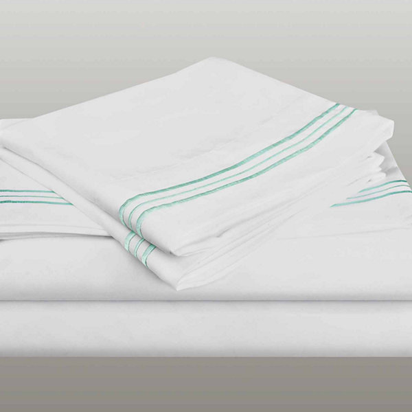 Cathay Home 3 Line Embroidery Microfiber Sheet Set