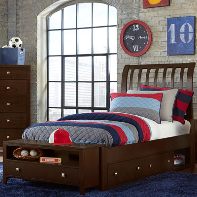 Possibilities Rake Sleigh Bed with Storage