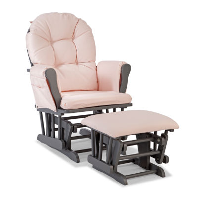 Storkcraft Hoop Glider And Ottoman - Gray W/ Pink Cushions Dome-Arm Glider