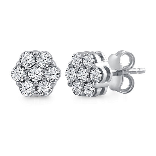 3aaff412a Diamond Blossom 1/2 CT. T.W. Genuine White Diamond 10K White Gold 8.8mm Stud  Earrings - JCPenney
