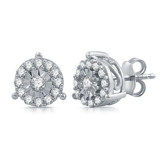 1/2 CT. T.W. Genuine Diamond 10K White Gold Stud Earrings