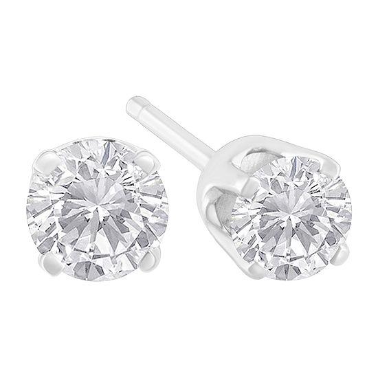 5/8 CT. T.W. Genuine White Diamond Sterling Silver 3.9mm Stud Earrings