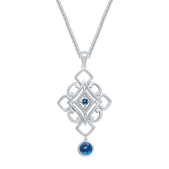 Universe Fine Jewelry By Marvel Womens Diamond Accent Genuine Blue Topaz Sterling Silver Marvel Pendant Necklace