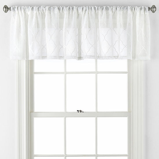 JCPenney Home Bayview Embroidery Rod-Pocket Valance