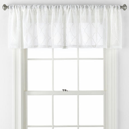 JCPenney Home Bayview Rod-Pocket Valance, One Size , White