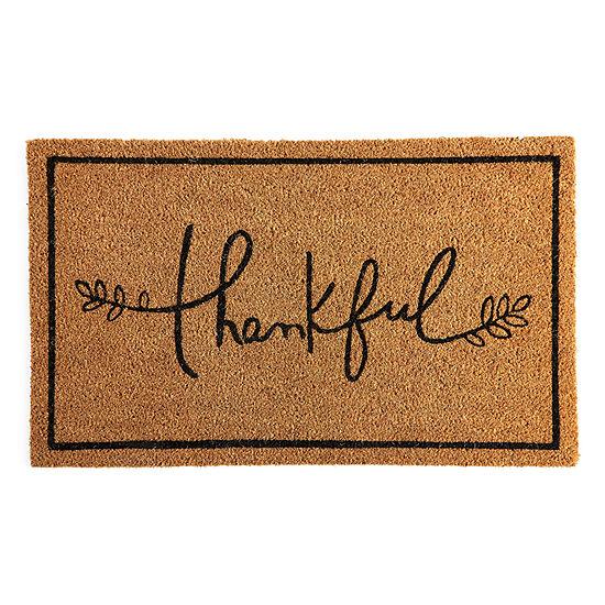 "JCPenney Home ""Thankful"" Rectangular Outdoor Doormat"