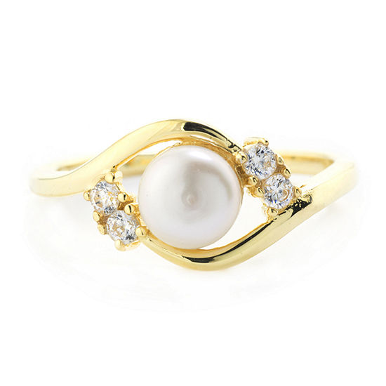 Silver Treasures Silver Treasures Womens 6MM White Cultured Freshwater Pearl Cubic Zirconia 14K Gold Over Silver Band