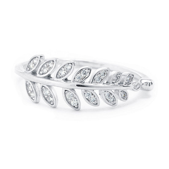 Silver Treasures Silver Treasures Womens 2MM Crystal Sterling Silver Band