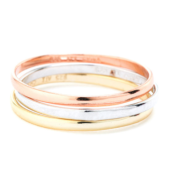 Silver Treasures Sterling Silver Triple Band Tri Colored Ring