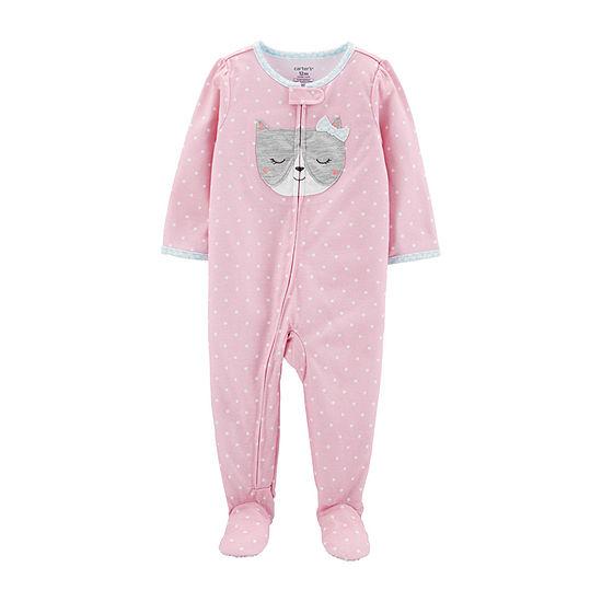 Carters Girls Fleece One Piece Pajama Long Sleeve Crew Neck
