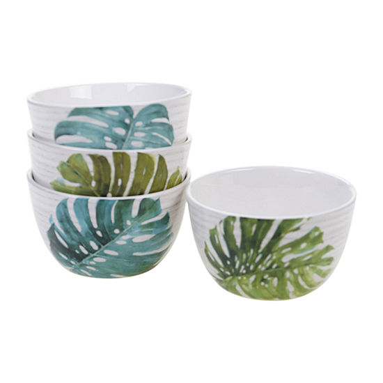 Certified International Palm Leaves 4 Pc Ice Cream Bowl