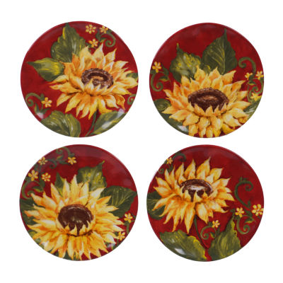 Certified International Sunset Sunflower 4-pc. Appetizer Plate