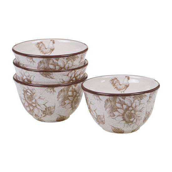 Certified International Toile Rooster 4-pc. Ice Cream Bowl
