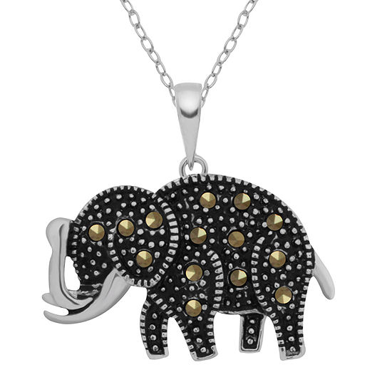 Sparkle Allure Gray Marcasite Pure Silver Over Brass 18 Inch Cable Pendant Necklace
