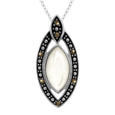 Sparkle Allure Womens Multi Color Marcasite Pure Silver Over Brass Pendant Necklace