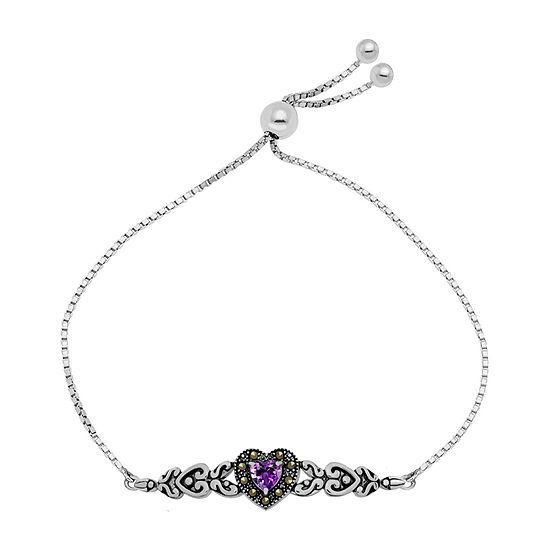 Sparkle Allure Multi Color Marcasite Pure Silver Over Brass Heart Bolo Bracelet