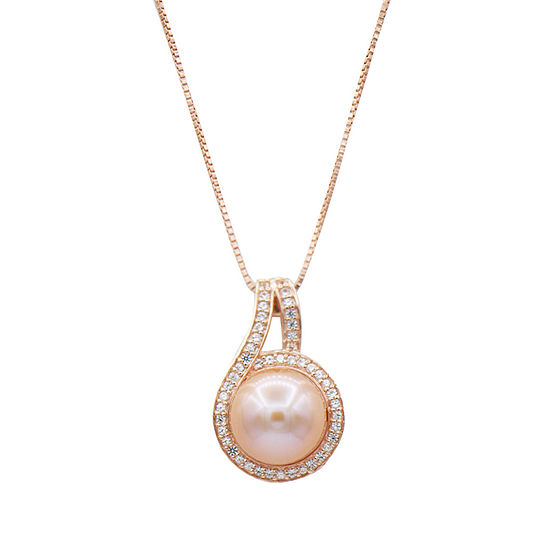 Womens Pink Cultured Freshwater Pearl 14K Rose Gold Over Silver Pendant Necklace