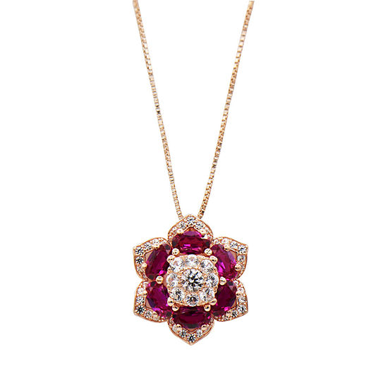 Womens Lab Created Red Ruby 14K Rose Gold Over Silver Pendant