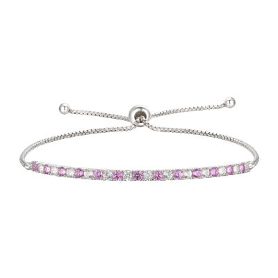 Lab Created Pink Sapphire Sterling Silver Bolo Bracelet