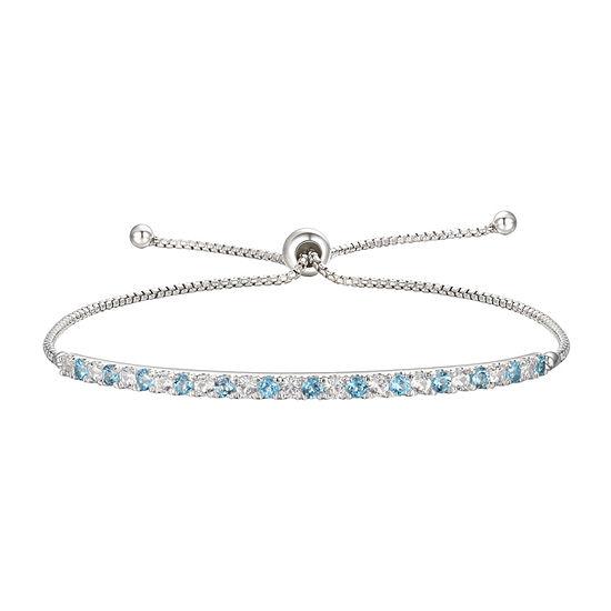 Genuine Blue Topaz Sterling Silver Bolo Bracelet