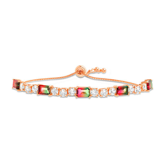 Inspired By You Simulated Multi Color Tourmaline 14K Rose Gold Over Silver Bolo Bracelet