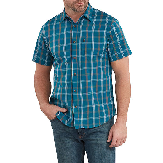 Dickies Mens Short Sleeve Moisture Wicking Plaid Button-Front Shirt