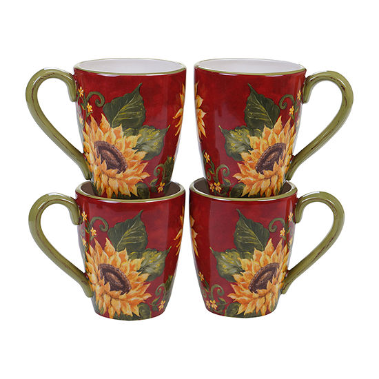 Certified International Sunset Sunflower 4-pc. Coffee Mug