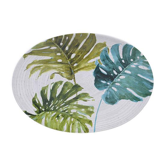 "Certified International Palm Leaves Oval 16"" X 12"" Serving Platter"