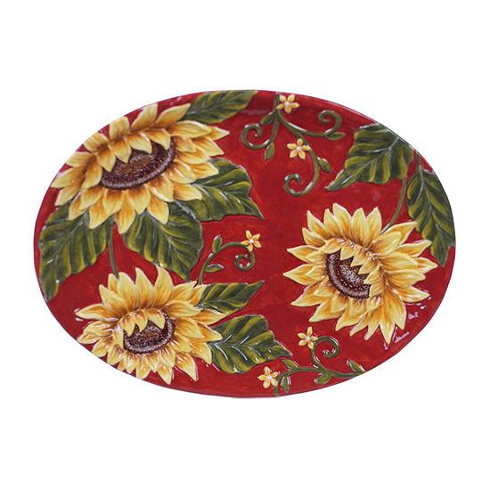 """Certified International Sunset Sunflower Oval 16"""" X 12"""" Serving Platter"""