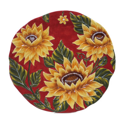 "Certified International Sunset Sunflower Round 13"" Serving Platter"