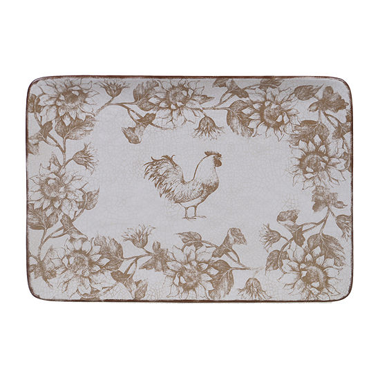 "Certified International Toile Rooster Rectangular 16"" X 12"" Serving Platter"