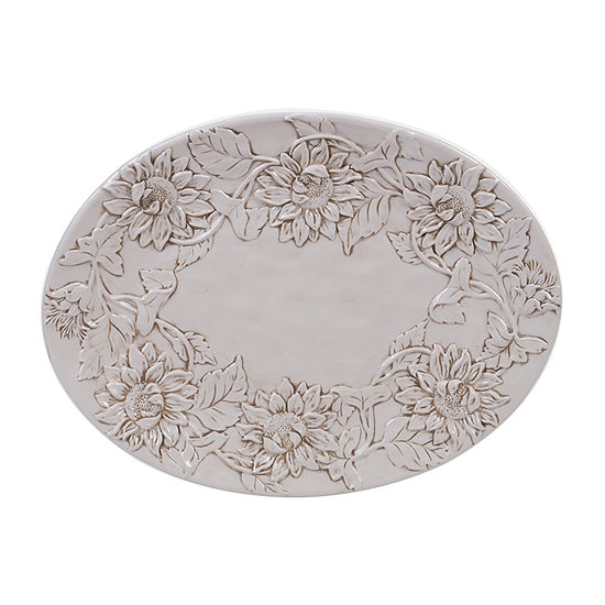 Certified International Toile Rooster Embossed Oval 16 X 12 Serving Platter