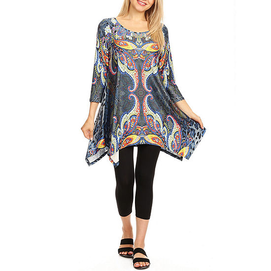 White Mark Not Applicable Womens Round Neck 3/4 Sleeve Tunic Top