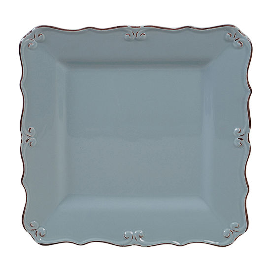 "Certified International Vintage Blue Square 13"" Serving Platter"