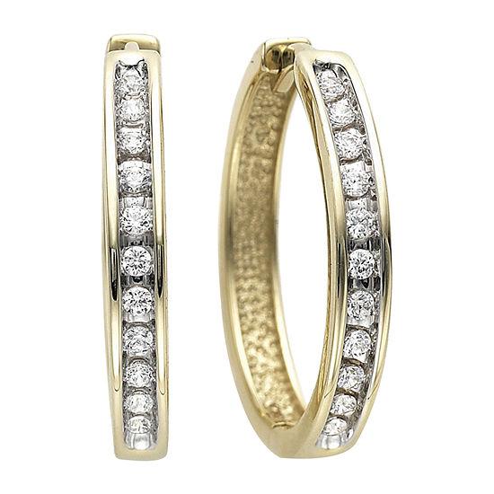 1/3 CT. T.W. Diamond Hoop Earrings