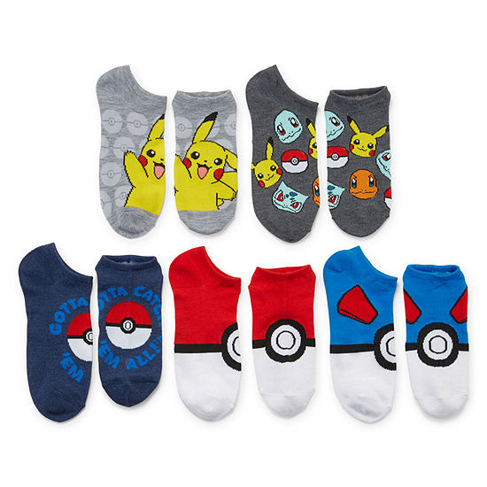 Boys 5 Pair Pokemon No Show Socks Preschool / Big Kid