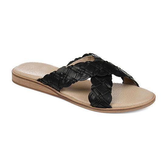 Journee Signature Womens Bryson Criss Cross Strap Flat Sandals