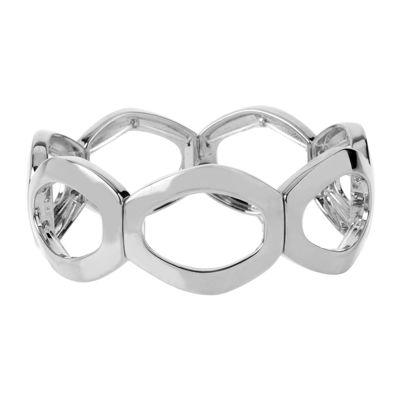 Worthington® Silver-Tone Openwork Oval Link Stretch Bracelet