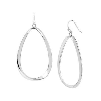 Worthington® Silver-Tone Twist Oval Drop Earrings