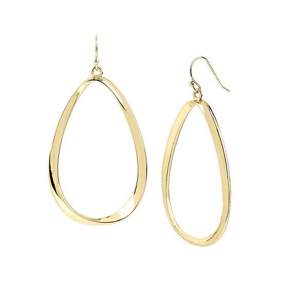 Worthington Gold Tone Twist Oval Drop Earrings