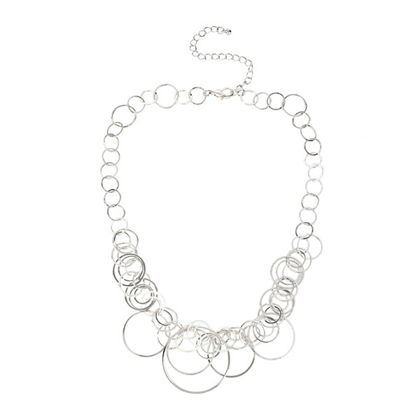 Worthington® Silver-Tone Circle Drop Necklace