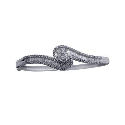 diamond blossom 2 CT. T.W. Diamond 10K White Gold Swirl Bangle