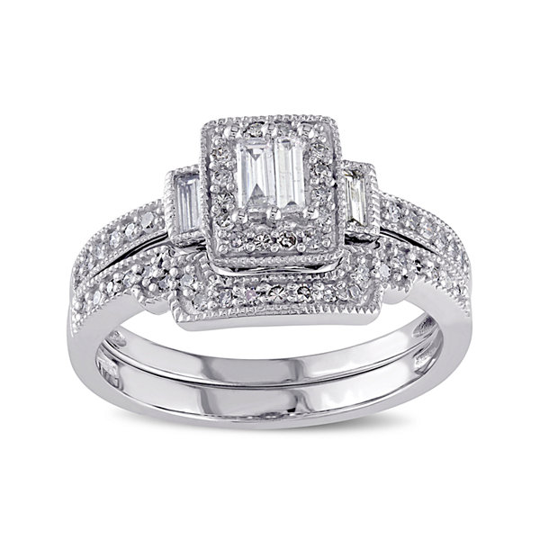 3/8 CT. T.W. Diamond 10K White Gold Bridal Ring Set