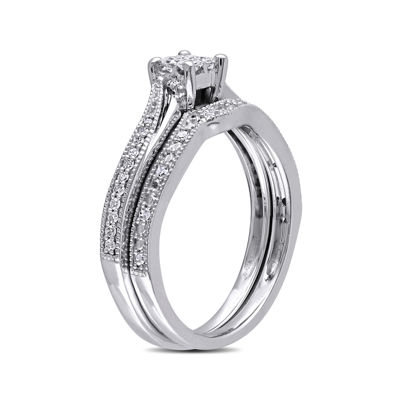 1/4 CT. T.W. Diamond 10K White Gold Multi-Top Bridal Ring Set